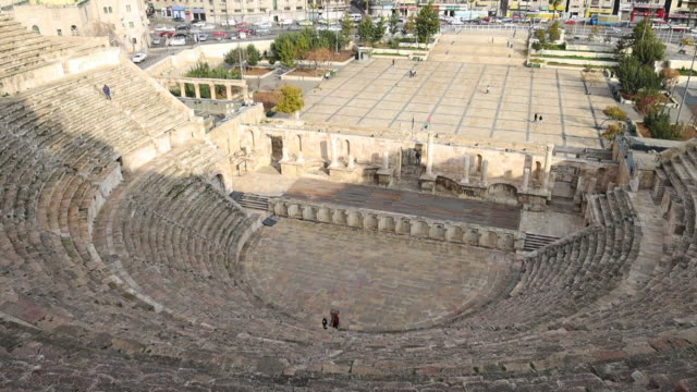 discovering the beautiful amphitheater of the amman city. - amphitheatre stock videos & royalty-free footage