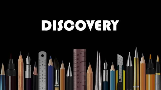 discovery, stop motion animation of wooden pencils, pens, measure, pair of compasses, brush, fountain-pen,  abstract conceptual image, contemporary art, bright idea, opinion, solution, philosophy, back to school - pair of compasses stock videos & royalty-free footage