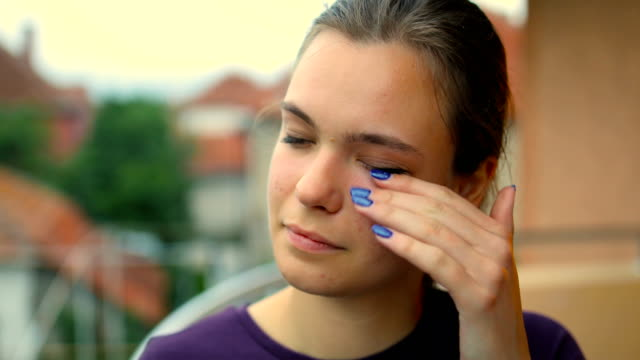 disgusted young woman rubbing her eyes - dry stock videos & royalty-free footage