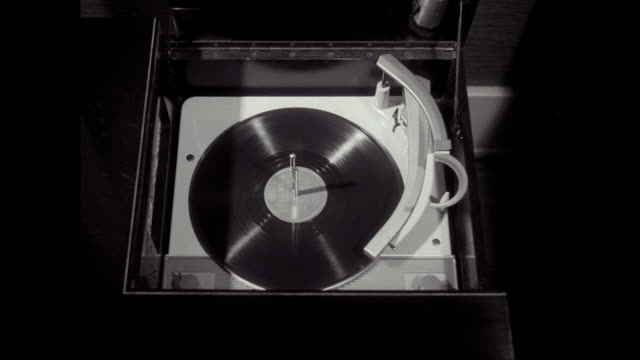 ms ha disk spinning on record player / united states - record player stock videos & royalty-free footage