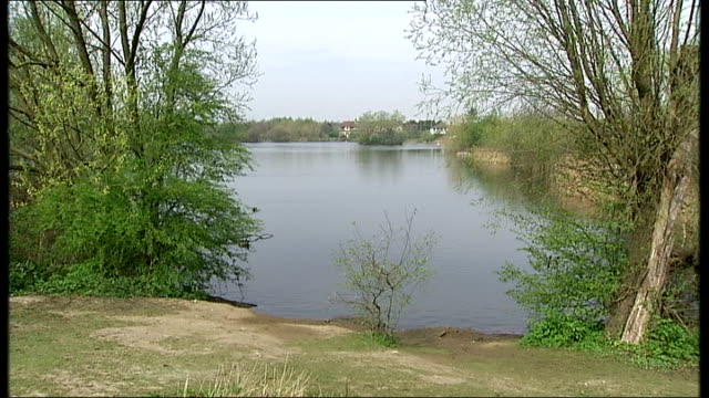 stockvideo's en b-roll-footage met dismembered body found in east london lake 242014 london dagenham white hart lakes ext police officers standing next to wheelie bins general view of... - bare tree