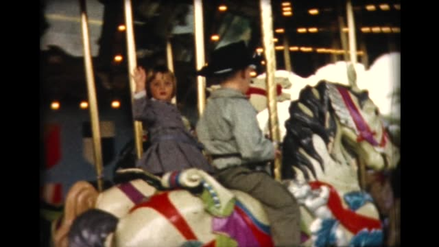 1962 disneyland 3 merry go round - roundabout stock videos & royalty-free footage
