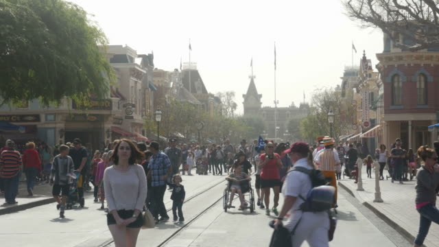 disneyland park, originally disneyland, is the first of two theme parks built at the disneyland resort in anaheim, california, opened on july 17, 1955 - anaheim california stock videos & royalty-free footage