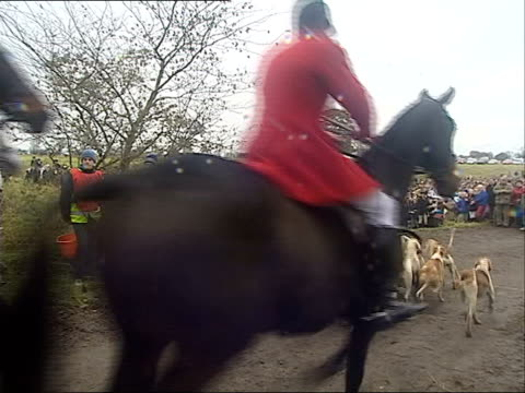 disobedience pledge/ ban may be shelved 2045 dan county durham sedgefield hunt members along ms hunt supporters gathered at rally to oppose a hunting... - newbury england stock videos and b-roll footage