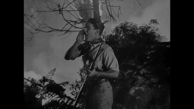 1925 Disoriented explorers struggle in fire filled jungle