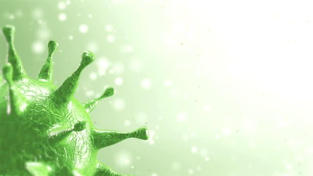 vídeos de stock e filmes b-roll de dispersed corona viruses with liquid background, covid-19 3d rendering, 3d motion looping graphic. - sistema respiratório humano