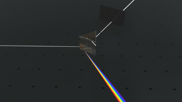 a dispersive equilateral prism refracting and reflecting an incoming beam of uniform white light. refraction of light results in the light being split into its constituent spectral colors (the colors of the rainbow) - lichtbrechung stock-videos und b-roll-filmmaterial