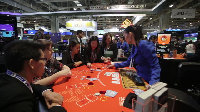 display at the global gaming expo asia in macau, china, on tuesday, may 21, 2019. - gambling chip stock videos & royalty-free footage