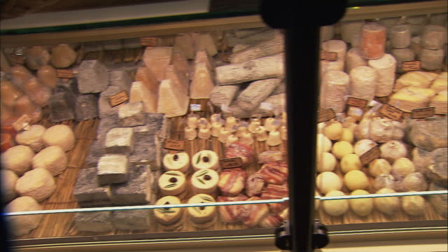 ws pan display cabinet with cheese / beaune, burgundy, france - display cabinet stock videos & royalty-free footage