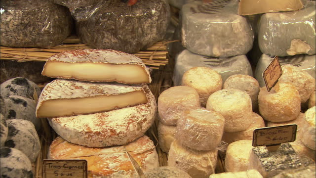 cu display cabinet with cheese / beaune, burgundy, france - cheese stock videos & royalty-free footage