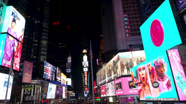 display of electronic billboard advertisements in manhattan's times square at night broadway and 7th avenue new york city. - electronic billboard stock videos & royalty-free footage
