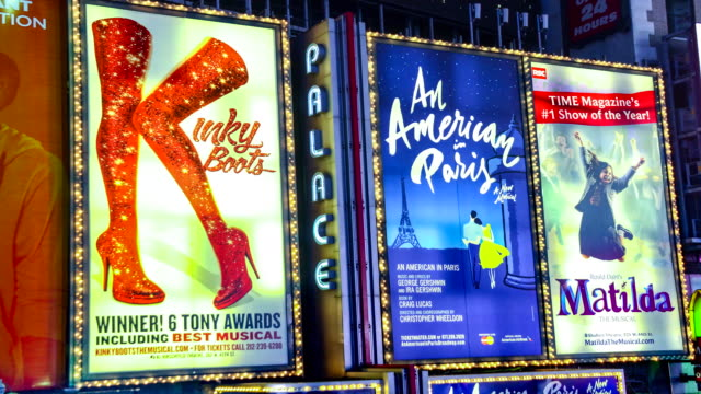 display of electronic billboards / broadway show broodway play billboard advertisements in times square / midtown manhattan broadway and seventh... - broadway show stock videos and b-roll footage