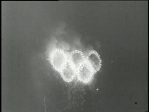 display of fireworks lights up the sky during the 1976 olympic games in montreal, canada. - montreal video stock e b–roll