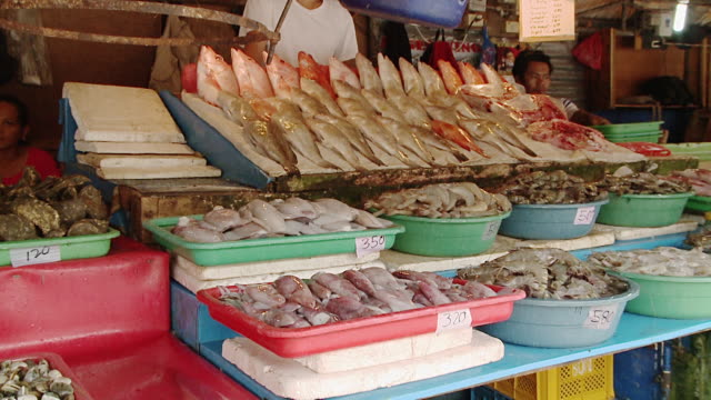 A Display of Fresh Seafood in the Market, Manila, Philippines
