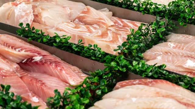 display of fresh seafood - fish market stock videos and b-roll footage