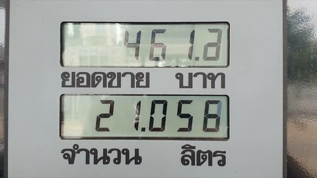 vídeos de stock e filmes b-roll de display of gas pump - gas station