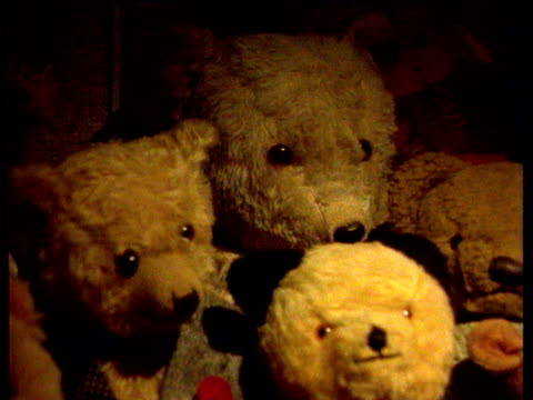 display of teddy bears in child's play room - teddy bear stock videos and b-roll footage