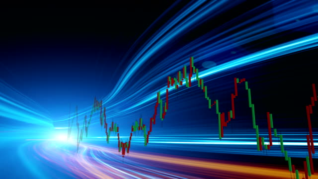 Display stock market data and graph concept