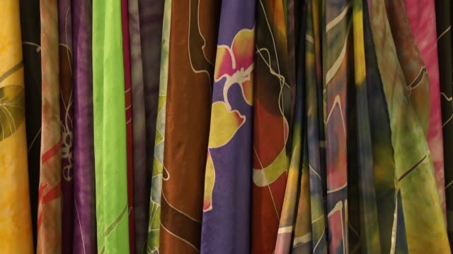 displayed  stylish batik painted fabrics, malaysia - batik stock videos and b-roll footage