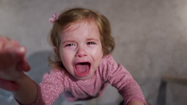 displeased toddler girl giving tantrum while crying because of tiredness - disrespect stock videos & royalty-free footage