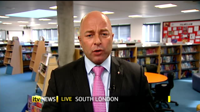 disputed gcse english exam: teachers criticised over high coursework grades; england: london: gir: int michael barry live studio interview from south... - マイケル バリー点の映像素材/bロール