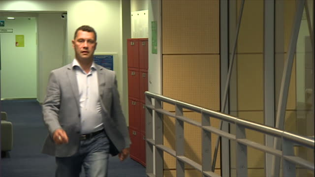Disqualified UKIP leadership candidate Steven Woolfe walking along a corridor