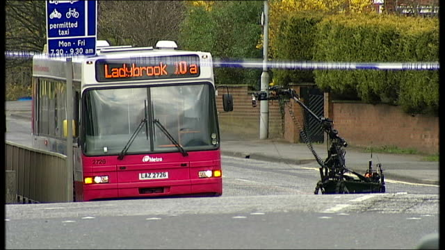 dissident republicans blamed for belfast attacks remote controlled robot device along towards empty belfast city bus suspected of containing... - remote controlled stock videos and b-roll footage