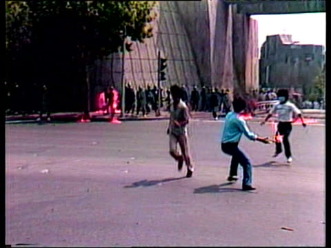 Dissident South Korean students throw petrol bombs towards line of riot police in antiOlympic protest Seoul Sep 88