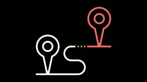 距離跟蹤器線圖示動畫與阿爾法 - 方向 個影片檔及 b 捲影像