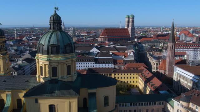 distant high flight around theatiner church - rathaus stock videos & royalty-free footage