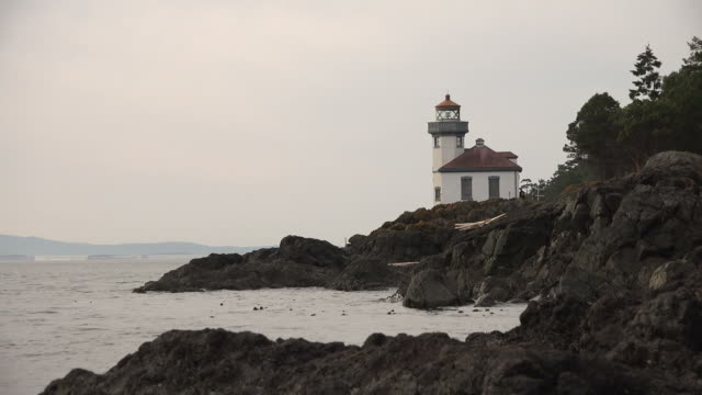 Distant Lighthouse Standing on Rough Coastline