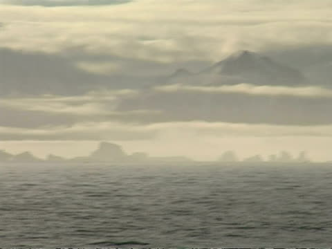 vídeos de stock e filmes b-roll de wa distant silhouetted group of icebergs, mountains, clarence island, antarctica - tremido