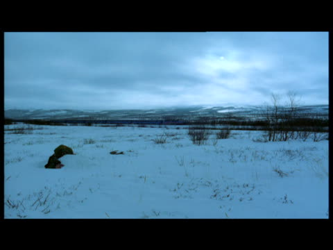 vídeos de stock, filmes e b-roll de distant train drives through abisko, sweden - forma da água