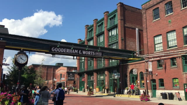 distillery district establishing shot in daytime-toronto,canada - distillery stock videos and b-roll footage