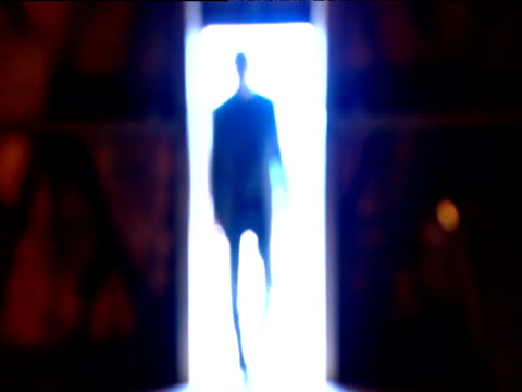 vídeos de stock, filmes e b-roll de distorted figure of man appears in back lit doorway - sombra