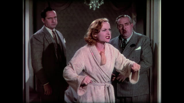 1937 distressed woman (carole lombard) loses temper and admits her fakery to waiting mourners and the city mayor - interrogation stock videos and b-roll footage