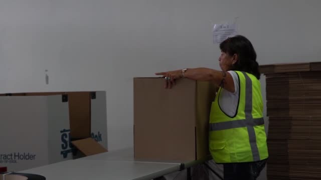 Distribution Center on the O'ahu Island of Hawaii is stored with pallets of supplies such as food and water in preparation for the iminent arrival of...
