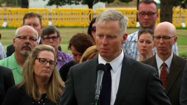 kdvr district attorney george brauchler discusses aurora theater shooter sentencing after the trial ended in centennial colorado on aug 7 2015 - todesstrafe stock-videos und b-roll-filmmaterial