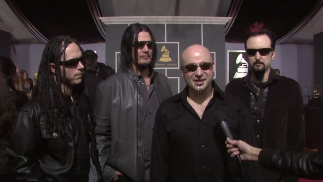 vídeos y material grabado en eventos de stock de disturbed on being nominated for a grammy, on where they were when they found out about the nomination, on who they're looking forward to seeing... - judas