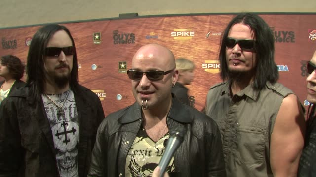 disturbed on what they are performing tonight about their new album coming out how they feel about the categories for this show and how robert downey... - spike guys choice awards video stock e b–roll