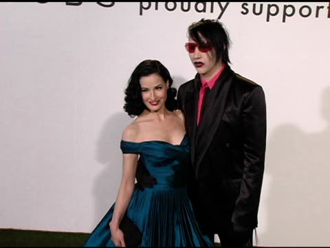 dita von teese and marilyn manson at the opening of marc jacobs' three los angeles stores at 8400 melrose place in los angeles california on march 17... - dita von teese stock videos & royalty-free footage