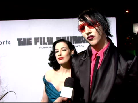 dita von teese and marilyn manson on why they came to support marc jacobs why marc jacobs clothing attracts people of all ages upcoming projects and... - dita von teese stock videos & royalty-free footage