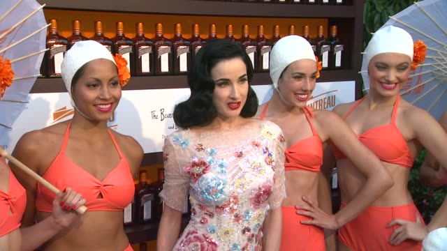 dita von teese and the aqualillies at cointreau and dita von teese launch cointreau poolside soirees in celebration of the beverly hills hotel's... - beverly hills hotel stock videos and b-roll footage