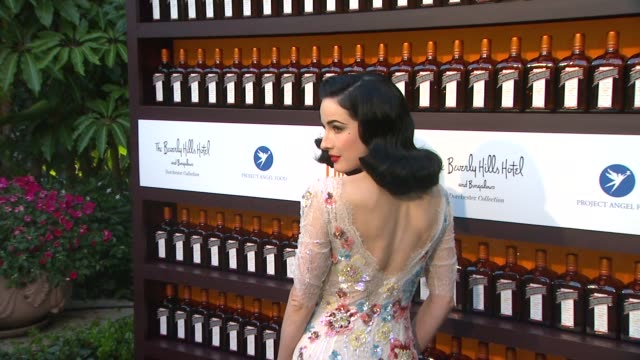 dita von teese at cointreau and dita von teese launch cointreau poolside soirees in celebration of the beverly hills hotel's 100th anniversary in... - dita von teese stock videos & royalty-free footage