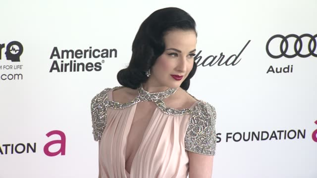 dita von teese at elton john aids foundation celebrates 20th annual academy awards viewing party on 2/26/12 in hollywood ca - dita von teese stock videos & royalty-free footage
