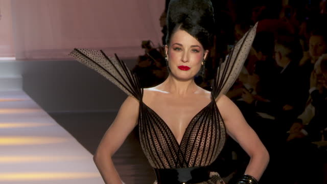 dita von teese at paris fashion week haute couture s/s 2019 - jean paul gaultier on january 23, 2019 in paris, france. - fashion show stock videos & royalty-free footage