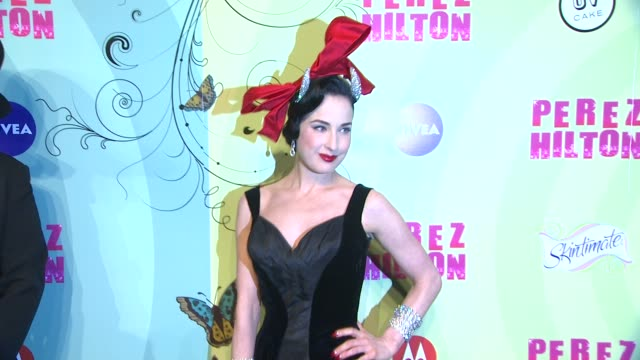 dita von teese at perez hilton's mad hatter tea party birthday celebration on 3/24/2012 in los angeles ca - mad hatter stock videos and b-roll footage