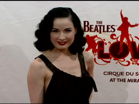 dita von teese at the 'love' cirque du soleil celebratation of the musical legacy of the beatles at the mirage hotel and casino in las vegas nevada... - dita von teese stock videos & royalty-free footage