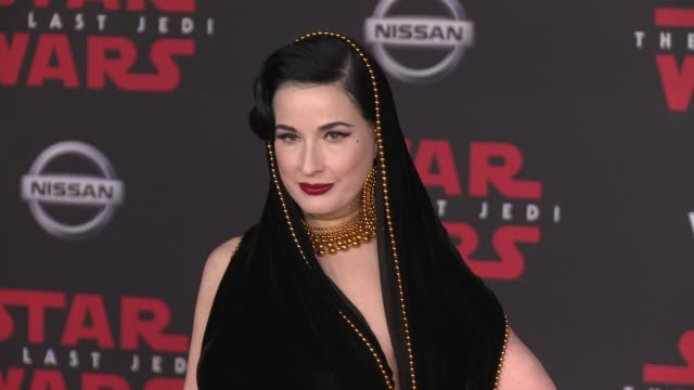 dita von teese at the star wars the last jedi premiere at the shrine auditorium on december 9 2017 in los angeles california - dita von teese stock videos & royalty-free footage