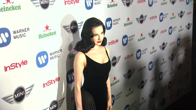 dita von teese at warner music group grammy celebration presented by mini on 2/10/13 in los angeles ca - dita von teese stock videos & royalty-free footage